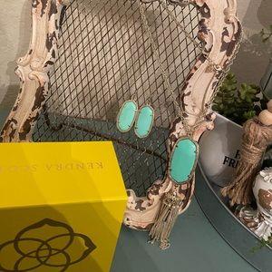 Mint green Kendra Scott earrings & necklace set